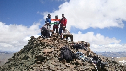 Rohan and Prashant on the Summit of 5980m with Diler and Pyareram