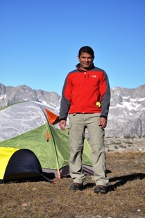 Rajan at campsite near upper Dusy Basin